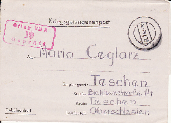 [17888]  GERMANY - SILESIA...WW2 CENSORED POW MAIL...  1943 (Jul 31)