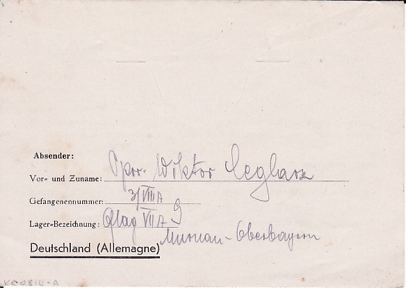 [17889]  GERMANY - SILESIA...WW2 CENSORED POW MAIL...  1940 44 Undated Kriegsgefangenpost Polnishche Kriegsgefangenensendung pre printed message in Polish letter sheet to Teschen endorsed from POW at 3 /V111 A Block A 111 Oflag V11 A located at Murnau (Oberbayern)