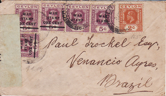 [14226]  CEYLON - BRAZIL...1919 CENSORED WAR TAX...  1919 (Jan 9)