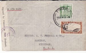 NEW ZEALAND-USA...WW2 AIRMAIL 8/- RATE ACROSS PACIFIC...