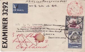 KENYA - GB - SWITZERLAND....1942 to AIRMAN at AIR MINISTRY forwarded as he's  POW...