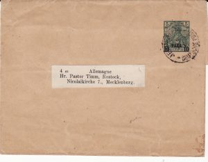 PALESTINE -GERMANY...1901 GERMAN POST OFFICE with INSTRUCTIONAL MARKING...