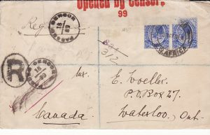 S.W.A .- CANADA....WW1 CENSORED REGISTERED COVER...
