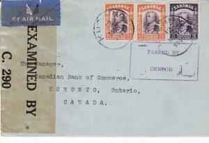 SARAWAK - CANADA...1941 DOUBLE CENSORED...