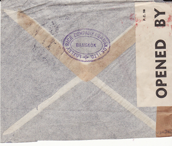 [12749]  THAILAND - USA... IMPERIAL AIRWAYS CENSORED with JUSQU