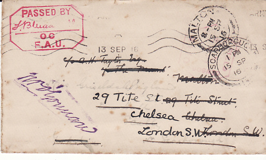 [13668]  FRANCE - GB...WW1 FRIENDS AMBULANCE UNIT FORWARDED TWICE...  1916 (Sep 13)