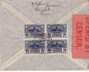 THAILAND - HOLLAND...WW2 AIRMAIL VIA KLM & CENSORED PALESTINE...