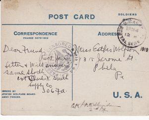 USA...WW1 AEF in FRANCE using JEWISH WELFARE CARD...]