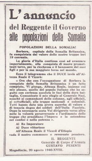 ITALIAN SOMALILAND...ITALIAN OCCUPATION of BERBERA BRITISH SOMALILAND..