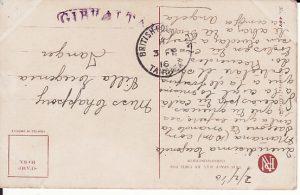 GIBRALTAR-MOROCCO...WW1 CURVED GIBRALTAR CENSOR HAND STAMP...