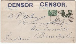 USA - GB...1916 CENSORED BY BLUE on WHITE CENSOR LABEL...