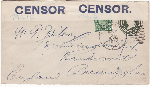 [13061]  USA - GB...1916 CENSORED BY BLUE on WHITE CENSOR LABEL...  1916 (Oct 28)