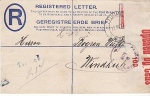 SOUTH WEST AFRICA…WW1 REGISTERED CENSORED…