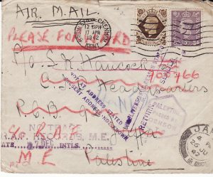 GB - PALESTINE…WW2 CENSORED AIRMAIL & RETURNED MAIL…