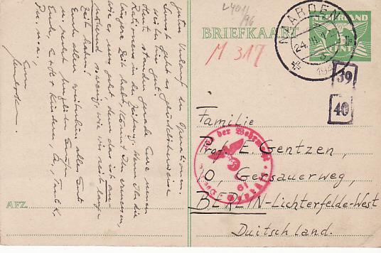 NETHERLANDS - GERMANY…WW2 CENSORED POSTCARD…