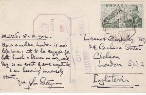 SPAIN - GREAT BRITAIN...WW2 DOUBLE CENSORED POST CARD…