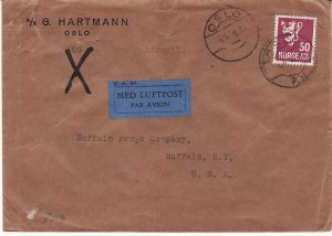 NORWAY -USA...WW2 CENSORED TRANSATLANTIC AIRMAIL…