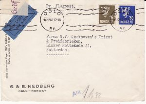 NORWAY -NETHERLAND...WW2 CENSORED AIRMAIL…