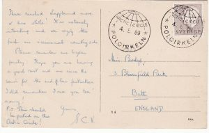 SWEDEN-GB...ARTIC CIRCLE POSTCARD..
