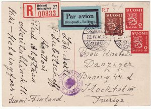 FINLAND - SWEDEN...WW2 REGISTERED CENSORED AIRMAIL POST CARD…