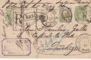 LUXEMBOURG...REGISTERED STATIONARY CARD USED INTERNALLY & RETURNED..