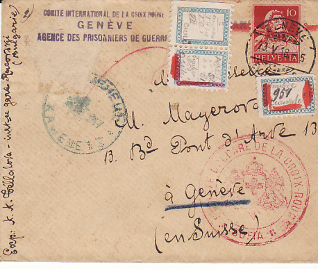 [14586]  BULGARIA-SWITZERLAND... [WW1 POW with RED CROSS SEARCH LABELS..  1918 (May)