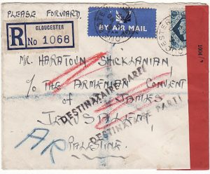 GB-PALESTINE…1949 REGISTERED A.R..CENSORED AIRMAIL & RETURNED…