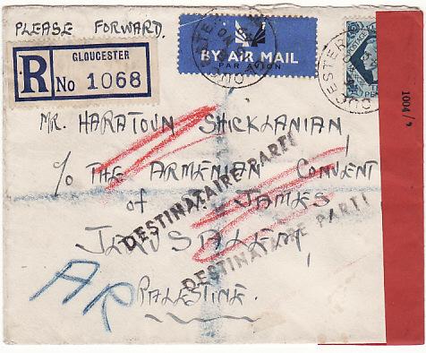 GB-PALESTINE…1949 REGISTERED A.R..CENSORED AIRMAIL & RETURNED…