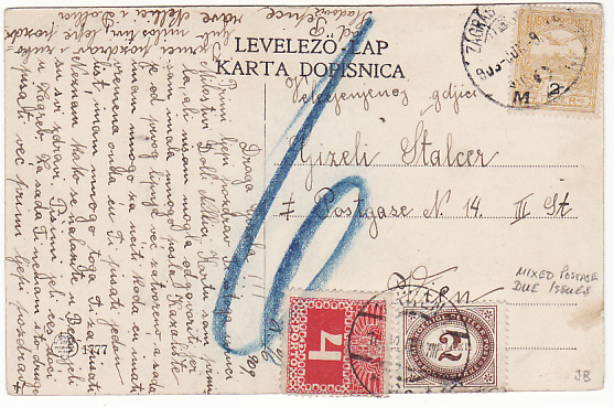 [14644]  CROATIA-HUNGARY-AUSTRIA… 1909 MIXED POSTAGE DUE ISSUES  1909 (Jun 6)