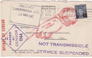 AUSTRALIA-N.E.I….. SERVICE SUSPENDED to BATAVIA…