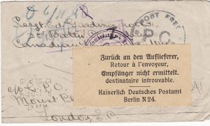 GB-GERMANY…TO CANADIAN POW.RETURNED TO SENDER as PLACE of DETENTION NOT TRACED…