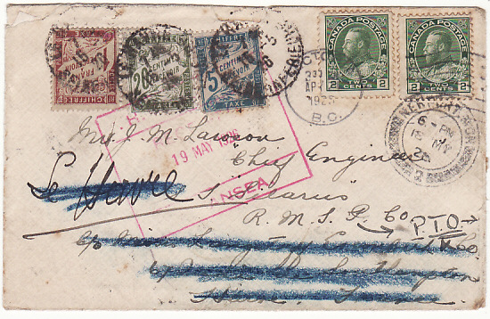 CANADA-FRANCE-GB...MULTIPLE POSTAGE DUE..