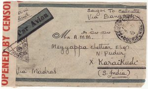 INDO-CHINE - INDIA….WW2 CENSORED AIRMAIL..