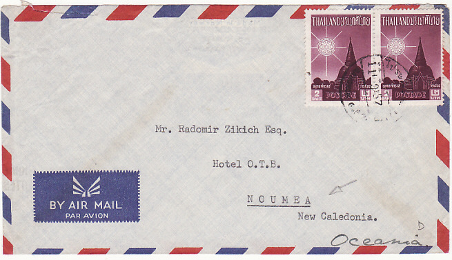 [14146]  THAILAND - NEW CALEDONIA...DESTINATION MAIL..  1957 (Sep 11)