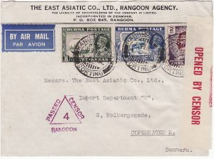 BURMA-DENMARK….WW2 CENSORED AIR MAIL with PERFIN's…