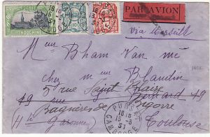 CAMBODIA - FRANCE….1931 PURSAT to TOULOUSE & FORWARDED..