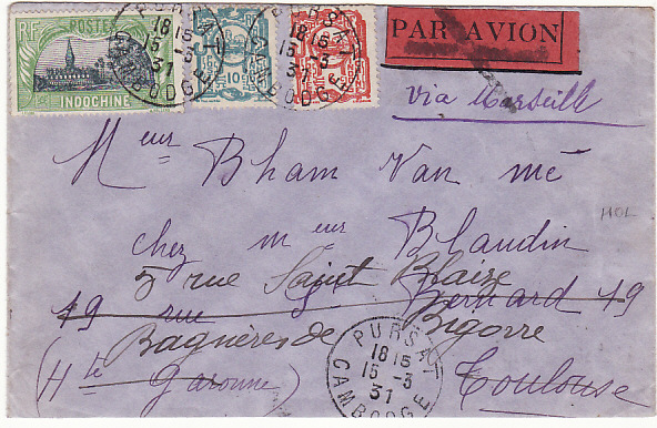 [14382]  CAMBODIA - FRANCE….1931 PURSAT to TOULOUSE & FORWARDED..  1931(Mar 15)