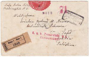 AUSTRIA /CZECH REP - PALESTINE….OTTOMAN EMPIRE REGISTERED CENSORED..