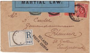 UGANDA - SWITZERLAND...WW1 COLONIAL SECRETARY CENSOR MARTIAL LAW...