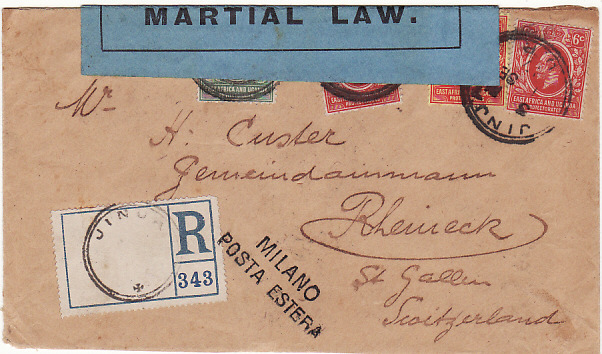 [14501]  UGANDA - SWITZERLAND...WW1 COLONIAL SECRETARY CENSOR MARTIAL LAW...  1917 (Sep 1)