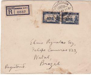 THAILAND - BRAZIL…WW2 REGISTERED to NATAL…