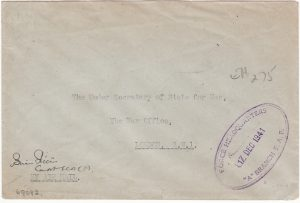 KUT- GB…WW2 EXPRESS LETTER AIRMAIL TO WAR OFFICE…