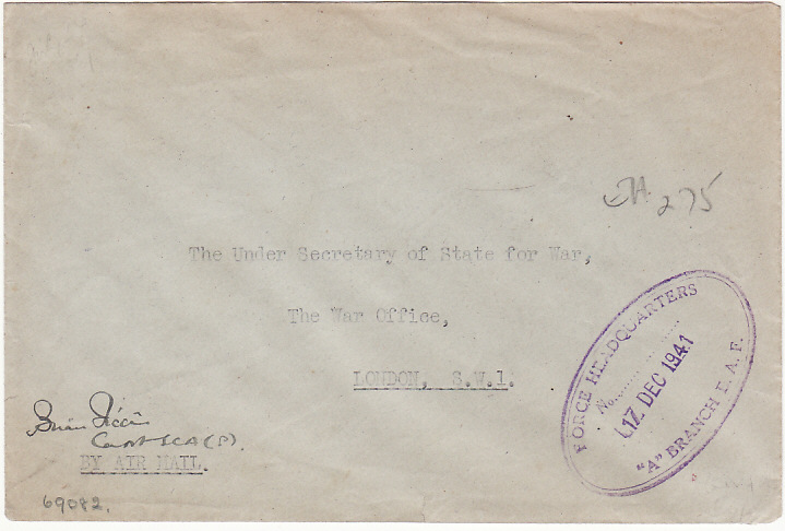 [14899]  KUT- GB…WW2 EXPRESS LETTER AIRMAIL TO WAR OFFICE…  1941(Dec 17)