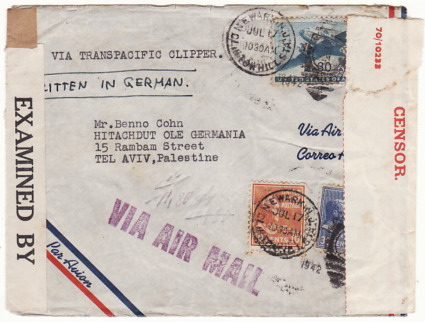 [18231]  USA - PALESTINE…WW2 TRANS PACIFIC AIRMAIL DOUBLE CENSORED …  1942 (Jul 17)