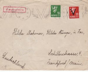 "NORWAY -GERMANY...WW2 ""V"" OVERPRINT on CENSORED COVER…"
