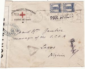 MOROCCO - NIGERIA...WW2 CENSORED RED CROSS ENVELOPE …