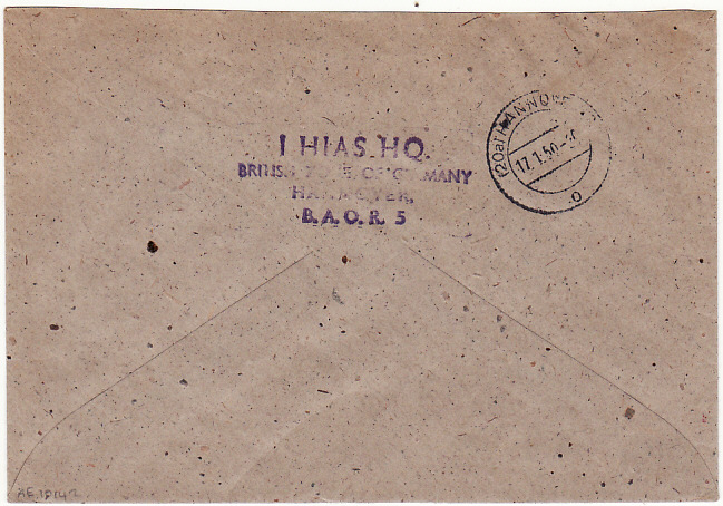 [18267]  GERMANY…HIAS HQ BRITISH ZONE of OCCUPATION to REGISTRY OFFICE…  1950 (Jan 17)