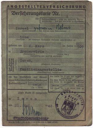 GERMANY …JEWISH EMPLOYEE INSURANCE CARD…