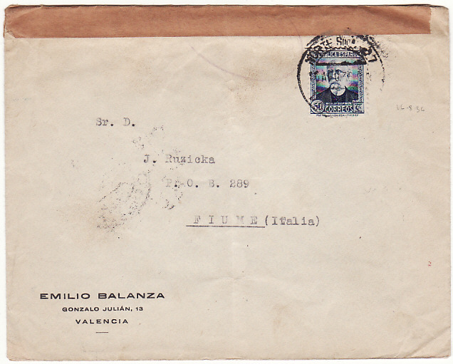 [15003]  SPAIN - FIUME…SPANISH CIVIL WAR CENSORED…  1936 (Aug 16)