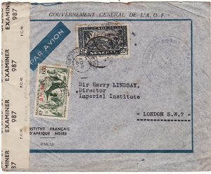 SENEGAL - GB….WW2 FRENCH COLONIAL MIXED FRANKING & CENSORED…